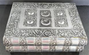Beautiful Metallic Detailed Book Look Jewelry Box