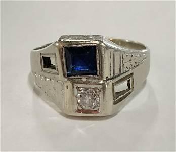 14k White Gold Diamond/Sapphire Ring 7g TW