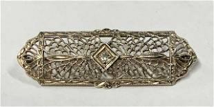 Vintage 14k Diamond Filigree Brooch