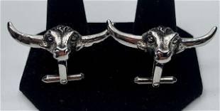 Sterling Long Horn Cow Cufflinks