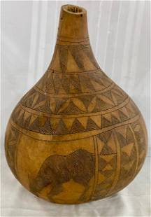 Gourd w/ Primitive Style Carvings.