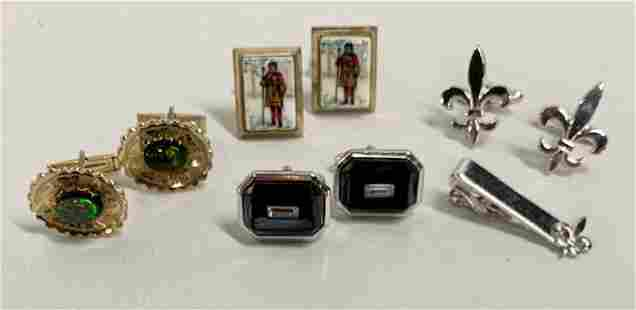 4 Pairs of Cufflinks and Tie Clip