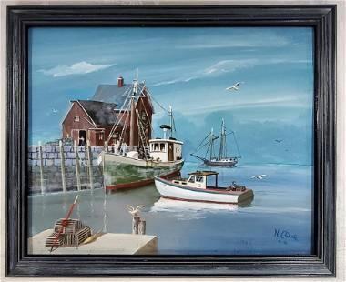 1990 Oil on Board- Nautical- signed N. L'Etoile