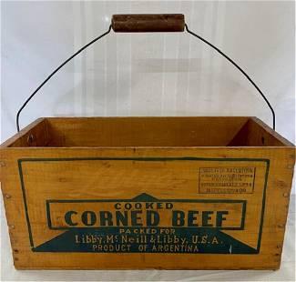 Vintage Libby Corned Beef Wood Box w/Handle