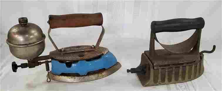 2 Gas Sad Irons - The Monitor - Blue Enamel