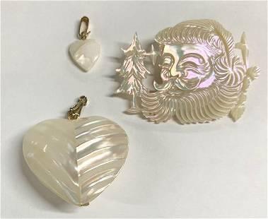 2 MOP Heart Pendants & MOP Santa Pin