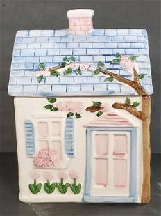 Blue & Pink House Cookie Jar