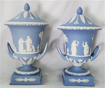 Beautiful Pair of Blue Wedgwood Jasperware Urns
