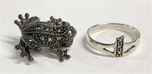 Sterling Ring and Sterling Frog Pin w/ Marcasites