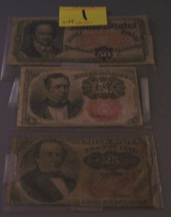 1: THREE FRACTIONAL CURRENCY NOTES ~ 25, 10, 50 CENTS