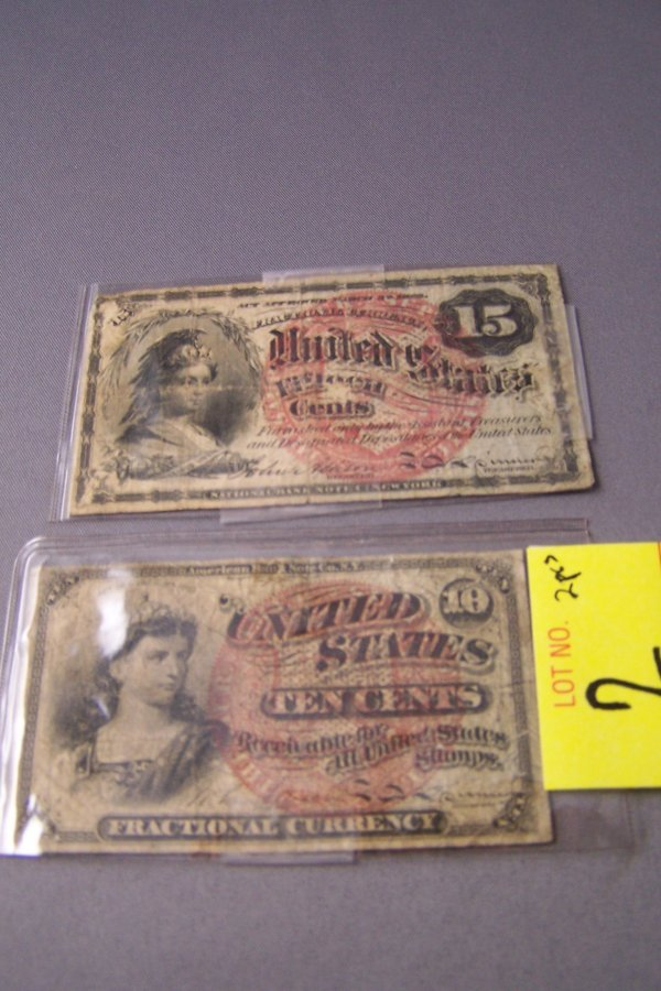 2: TWO FRACTIONAL CURRENCY NOTES ~ 10 & 15 CENTS