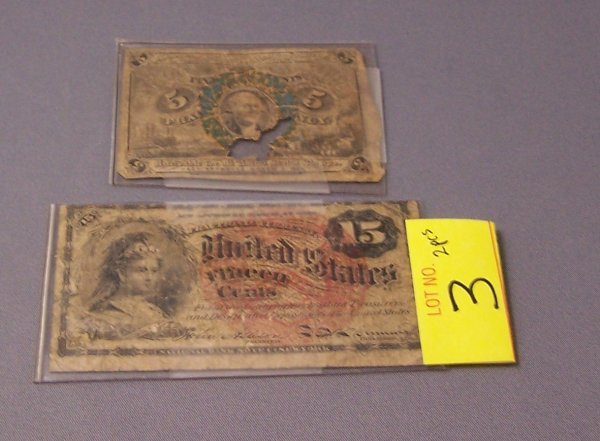 3: TWO FRACTIONAL CURRENCY NOTES ~ 5 & 15 CENTS