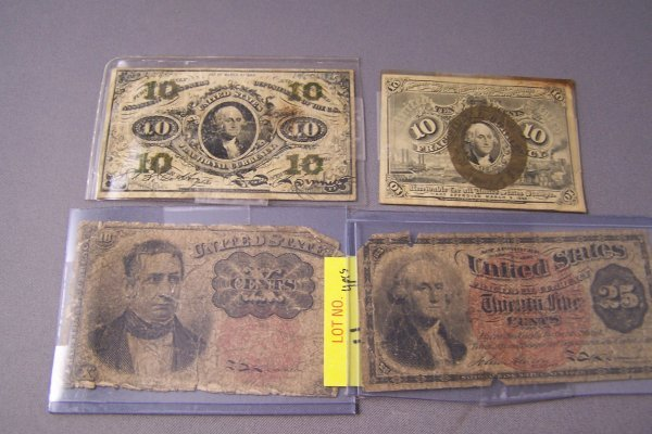 4: FOUR FRACTIONAL CURRENCY NOYES ~ 10, 25, 10 & 10 CEN