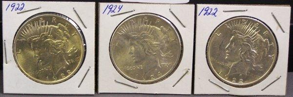 6: THREE SILVER PEACE DOLLARS 1922, 1924, 1922