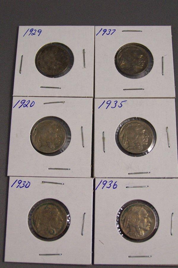 7: SIX BUFFALO NICKELS 1929, 1935, 1920, 1936, 1937