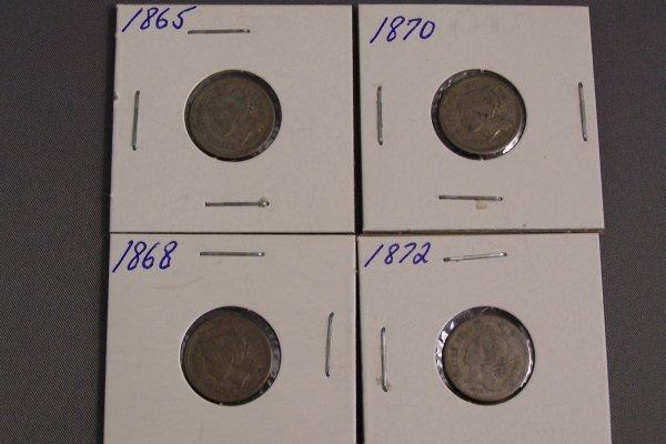 9: FOUR  THREE CENT PIECES 1868, 1872, 1870, 1865