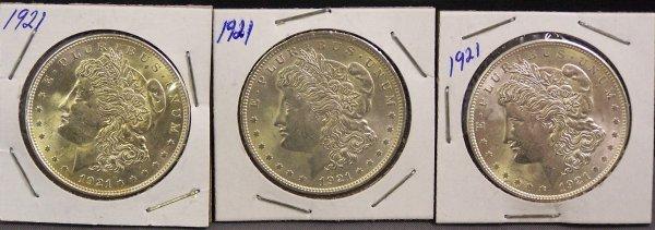 12: THREE 1921 SILVER MORGAN DOLLARS