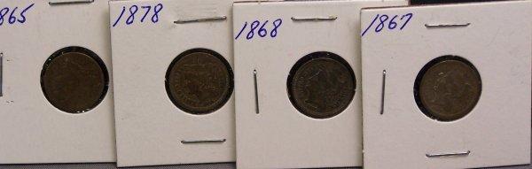 13: FOUR  THREE CENT PIECES 1868, 1867, 1865, 1878