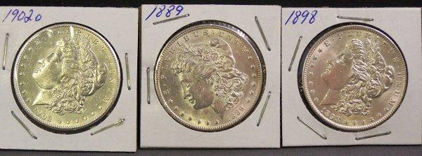 15: THREE SILVER MORGAN DOLLARS 1889, 1898, 1902