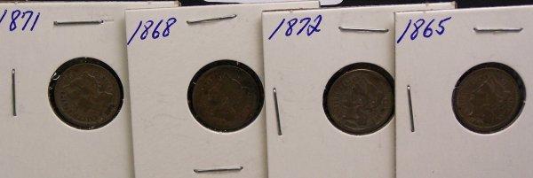 17: FOUR THREE CENT PIECES 1865, 1872, 1871, 1868