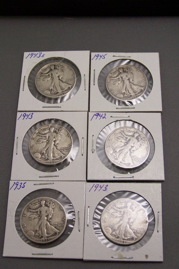 19: SIX WALKING LIBERTY HALF DOLLARS 1943, 1945, 1943,