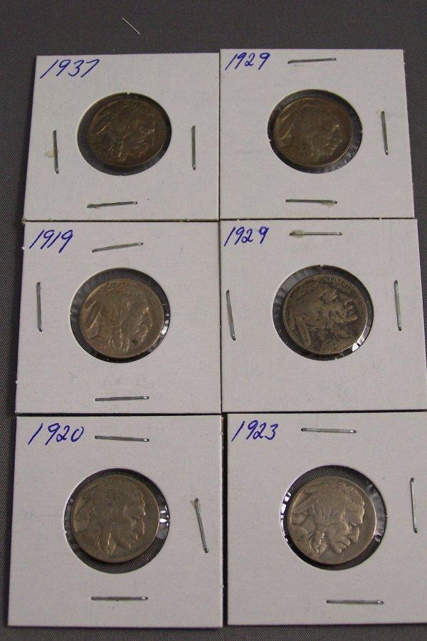 20: SIX BUFFALO NICKELS 1923, 1920, 1929, 1937, 1929, 1