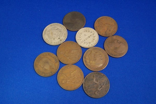 17A: 10 FOREIGN LARGE COINS