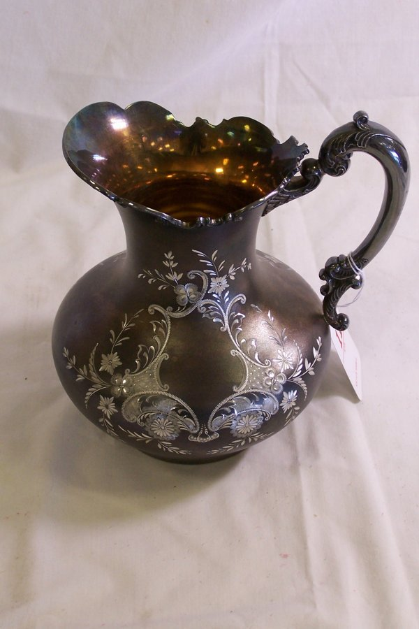 11: 19TH C. ETCHED SILVERPLATE EWER