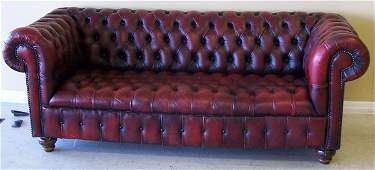 71: LEATHER CHESTERFIELD SOFA