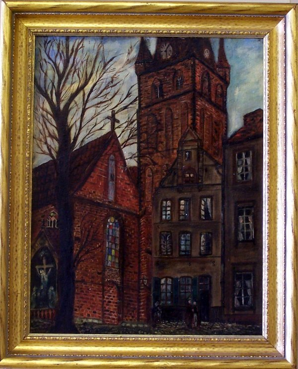 1A: OIL ON BOARD CATHEDRAL SCENE