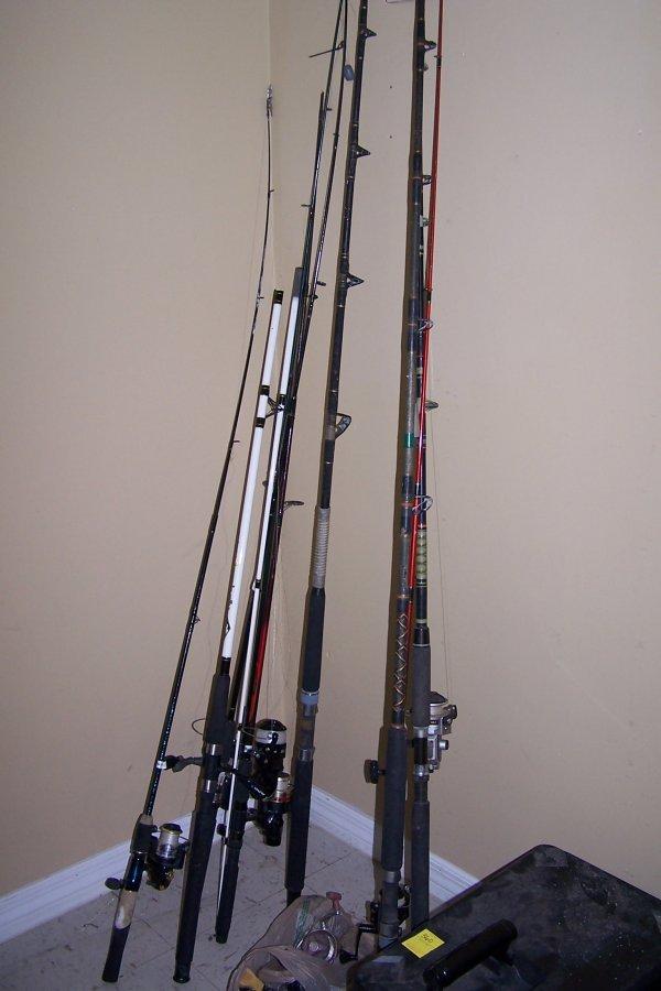 359: 9 FISHING POLES & 11 REELS