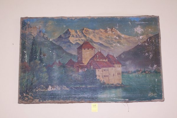 544: 1906 OIL ON CANVAS CASTLE SCENE BY H.P BURI