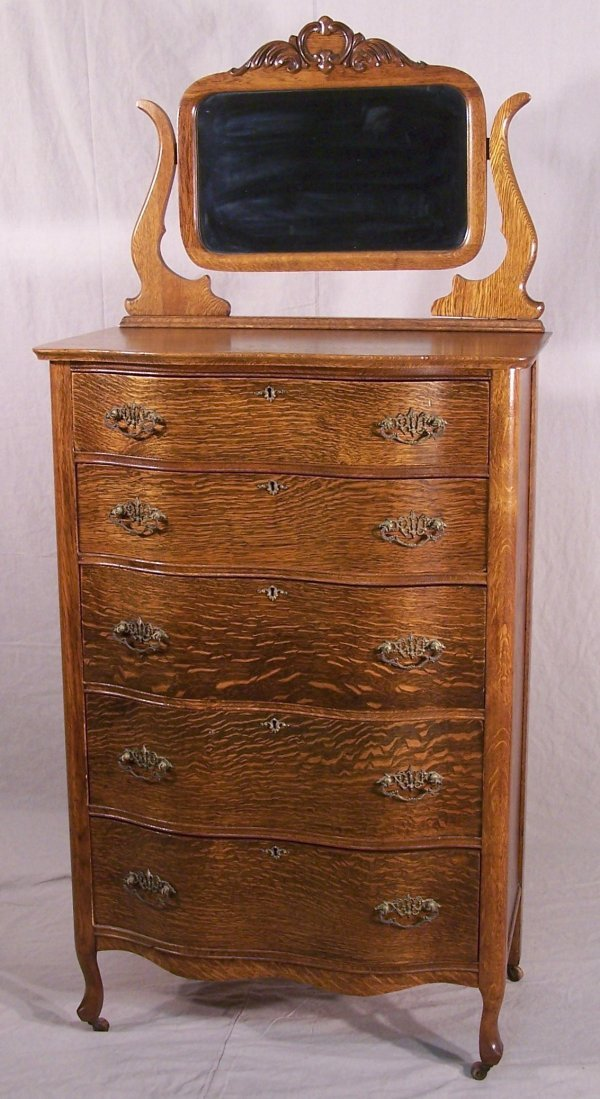 4: TIGER OAK TALL DRESSER W/ SERPENTINE FRONT & MIRROR