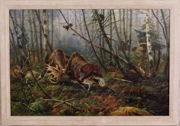 "10: 21"" X 31"" OIL ON CANVAS OF DUELING MOOSE"