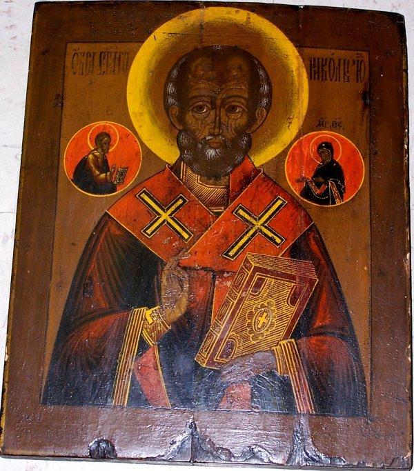 """403: 16"""" X 13"""" RELIGOUS ICON OF ST. NICHOLAS"""