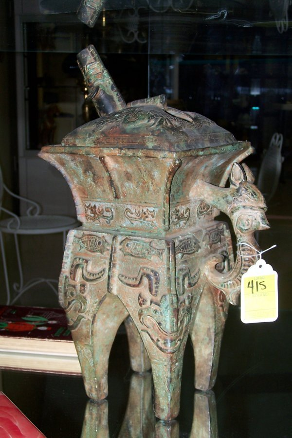 415: ARCHAIC STYLE BRONZE CHINESE TEA POT