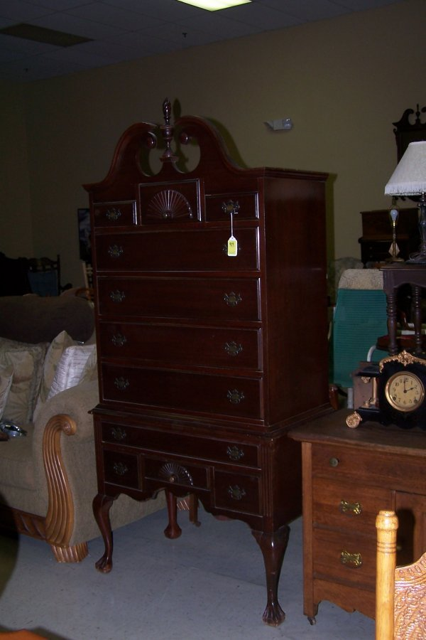 489: MAHOGANY TALL BOY DRESSER
