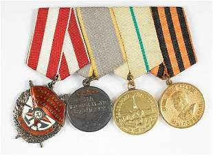 WWII SOVIET MEDAL BAR ORDER OF THE RED BANNER (4)