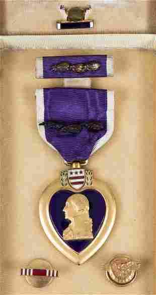 WWII NAMED PURPLE HEART W/ 3 OAK CLUSTERS 37th TANK BN