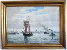 FRAMED OIL PAINTING OF PORT SCENE WITH SHIPS
