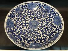A BLUE AND WHITE 'LOTUS' LARGE PORCELAIN PLATE