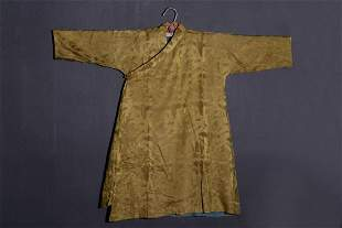 TIBETAN YELLOW GROUND SILK ROBE & DRAGON PATTERN