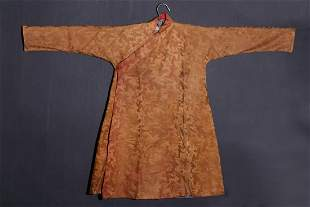 TIBETAN BROWN GROUND SILK ROBE &  PHOENIX PATTERN