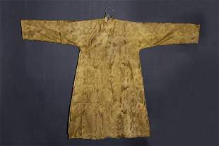 TIBETAN YELLOW GROUND SILK ROBE