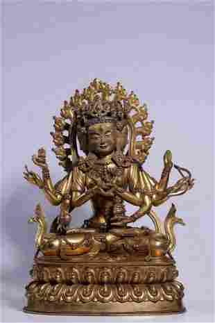GILT BRONZE SEATED FIGURE OF USNISAVIJAYA BUDDHA