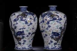 PAIR OF BLUE & WHITE DOUCAI 'DRAGON' MEIPING VASES