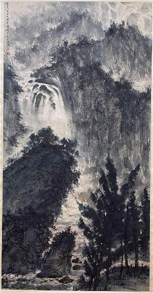 CHINESE PAINTING OF MISTY MOUNTAIN, FU BAOSHI