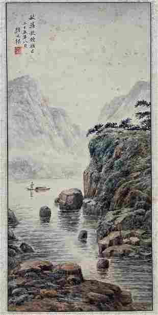 CHINESE PAINTING OF BOATING IN RIVER, YAN WENLIANG