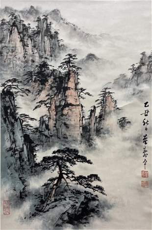 CHINESE PAINTING OF MISTY MOUNTAIN, DONG SHOUPING
