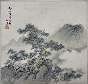 CHINESE PAINTING OF MOUNTAIN & PINE, WU HUFAN